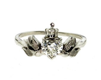 Crowned Heart With Swallows Diamond Platinum Engagement Ring