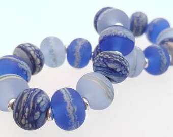 Lampwork Glass Bead Stretch Bracelet - Blue Marble, Handmade with Silver tone or Sterling Silver accent beads