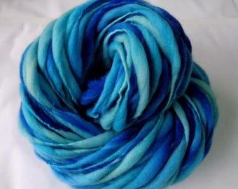 Handspun merino yarn, thick and thin, super bulky yarn, dolls hair, dreads, hairfalls,blue yarn, LAGOON II, 3.5oz/60yds, 100g/55m, 100% wool