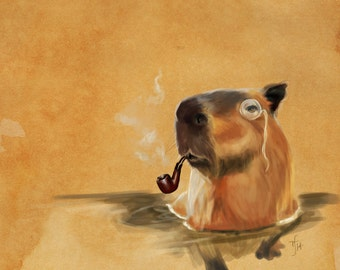 Cute classy capybara art // pigment print, archival, 11x14 // critter with pipe and monocle