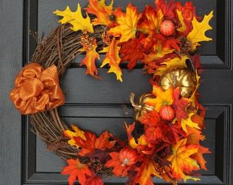 Fall Foliage Autumn Leaves Grapevine Wreath, Large Fall Wreath, Fall Wreath for the Door, Fall Leaves, Fall Decoration