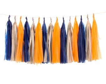 Tissue Paper Tassels, Navy, Silver and Orange Tassel Garland, Baby Shower Decor, First Birthday Party Decor, Rustic Wedding Photo Backdrop
