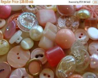 ONSALE 50 Antique Buttons Vintage Blush and Peach Glass Buttons Rhinestone Blushing Bride Wedding Button Jewelry Collection Lot N0 22