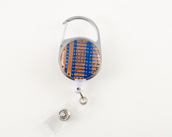 Blue and Gold Circuit Board Retractable Badge Holder - Badge Reel - Geeky Office Gift - Engineer Gift