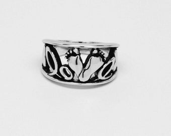 Baby Feet Love Ring / Band With Hearts Custom Made Sterling Silver Mother's Ring
