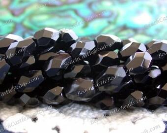 50% Off Closeout Beads, 2 Strands Destash Beads 5 x 7mm Jet Black Czech Glass Fire Polished Faceted Teardrop Beads, Destash Supplies  CZ-032