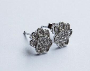 Cute Bear Paw Earrings - Sterling Silver