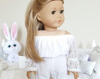 18 inch doll white romper