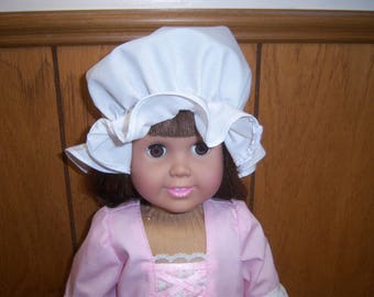 """18"""" Doll's Mob Cap--Fits American Girl Dolls & Similar, Doll Clothes, Colonial, Williamsburg, Christmas, Gift, Birthday, White Bonnet"""