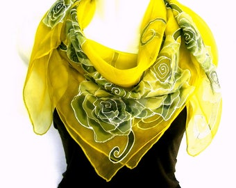 "Hand Painted Silk Scarf, Roses Silk Scarf, Golden Yellow Black Gray, 35"" Square Silk Chiffon Scarf, Gift For Her"