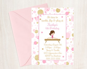 Gymnastics Birthday Party Invitation, Gymnastics Invite, Pink and Gold Gymnastics Invitation, Printable Invitation, Gymnastics, Girls Party