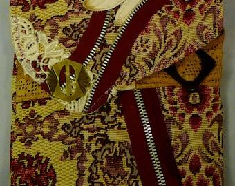 Cross Body Purse,Steampunk Boho Style Handbag,Clutch,Wallet,Tapestry, ArtWear,Fabric Collage,Wearable Art,One of a Kind,Unique Design Wear
