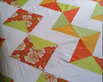 Unfinished quilt top, Modern quilt top, Ready to quilt, Queen Full Twin, Orange flowers, Queen quilt top, Twin quilt top, Handmade