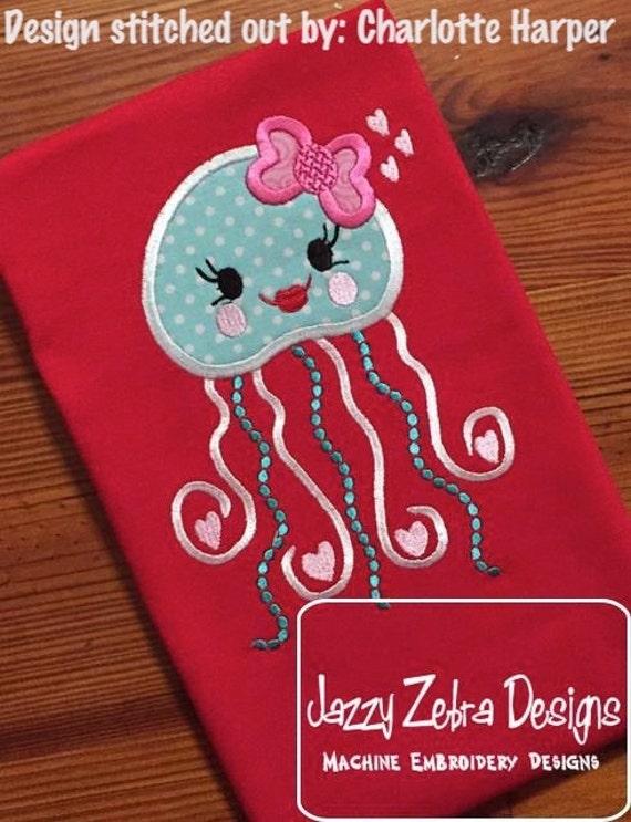 Jellyfish Valentine Applique Embroidery Design - Valentines day applique design