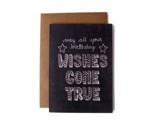 May All Your Birthday Wishes Come True Name in Lights Chalkboard Card