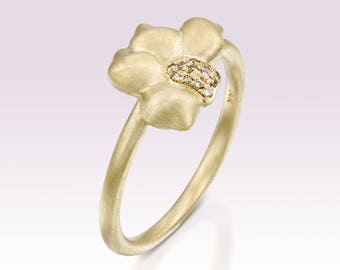 14k gold flower ring, Champagne diamond ring, 14k yellow gold floral ring, Unique gold nature inspired ring, 14k gold and real diamonds ring