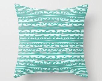 Lines and Dots Pillow  - Modern Pillow  - Teal pillow  - Modern Home Decor - By Aldari Home