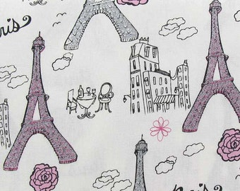 Paris Pink and Gray Glitter Fabric By the Yard or Half Yard Eiffel Tower Fabric Cotton Quilting Fabric a1-1