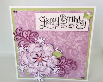 Handmade birthday card for woman.