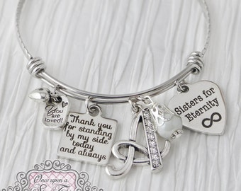Sister Bridesmaid Gift - Sisters for Eternity - Initial Wedding Bracelet,Bridesmaid Jewelry-Expandable Bangle-from Bride,Bridesmaids, Matron