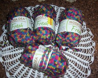 Moda Dea Fresh Yarn...4 Skeins...Color Rainbow...Bulky #5...Unused...Moda Yarn...Coats...Crochet Yarn..