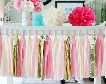 Pink, Cream and Gold Tissue Paper Tassel Garland- Wedding, Birthday, Bridal Shower, Baby Shower, Garden Party Decorations