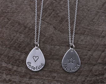 Personalized Teardrop Necklace; Sterling Silver Hand Stamped Name Necklace
