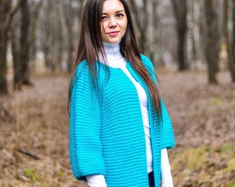 Women's knitted jacket, handmade work