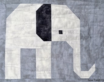 Elephant Quilt Block Pattern, PDF, Instant Download, modern patchwork, jungle, African, animal, cute