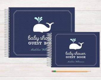 Baby Shower GuestBook, Baby Guestbook, Baby Shower, Custom GuestBook, Personalized GuestBook, Baby Shower Registry Book, whale