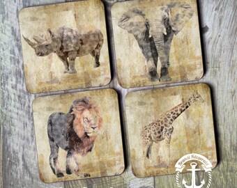Coaster Set   Animal     Africian Desert Animals Elephant Giraffe Rhino Lion Rustic Style   Cork Back Non Slip   Options at Checkout