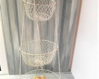 White Kitchen Hanging Baskets / White Fruit Basket / Hanging Fruit Basket / Hanging Baskets / Fruit Basket / White Kitchen Decor