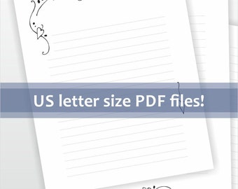 Printable writing paper. Lined paper. Digital stationery. Elegant line art design with hearts. Letter paper.