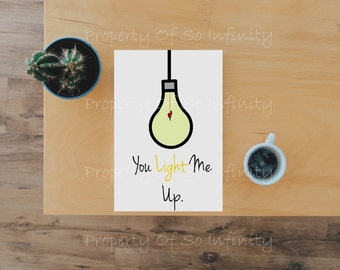 You Light Me Up Valentines Day Card
