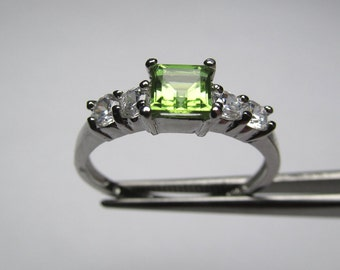 Gorgeous Genuine Peridot Square in an Accented Sterling Silver Setting