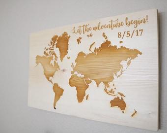 Wooden World Map, World Map, Wood World Map, Wood Map, World Map Art, Wooden Map, World Map Sign, Rustic World Map, Travel Map, Wall World