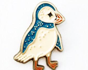 Puffin ENAMEL PIN, bird lapel pin, puffin pin, boygirlparty pins, bird enamel pin badge, backpack pins, punk pins, soft enamel pin