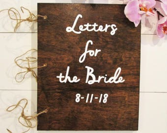 Letters to the bride book, bridal shower book, bridal shower guest book, advice for the bride, bride advice book, wood book, wood guest book