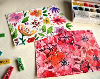Cartolina dipinta, acquerello originale, Illustrazione fiori, papaveri acquarello, Dipinto a mano, dipinti originali, fiori acquarello