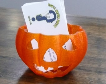 Pumpkin Halloween home decor or business card holder office or with LED tea light 3D printed - Made in USA PR130