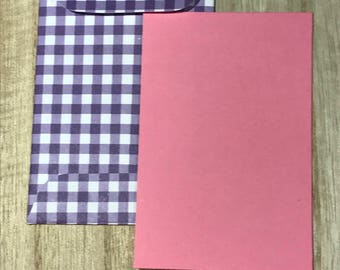 Four gift tags with purple gingham envelopes