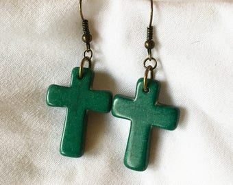 Simple Dark Malachite Green Stone Cross Earrings