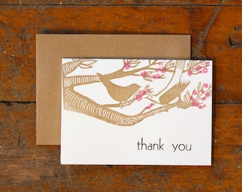Thank you cherry blossoms letterpress linocut card