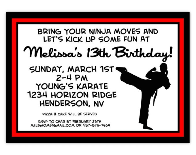Karate Party Birthday Invitation, Karate Birthday Invitation, Tae Kwon Do Birthday Invite, Digital Design - CUSTOM for You, 4x6 or 5x7 size