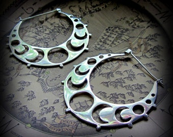 Moon Hoop Earrings ~ Crescent Moon Phase Jewelry ~ Silver Earrings Gauges ~ Tribal Fusion Belly Dance Festival ~ Witchy Occult Jewelry Wicca