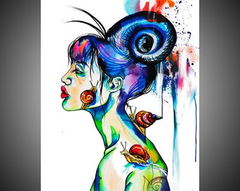 Prudence watercolor painting, Snail painting, Snail art, Snail wall art,  Snail picture, Woman art, Woman painting, Woman gift, Bizarre