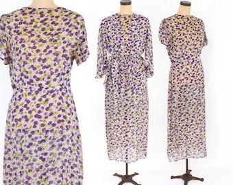 30s Floral Dress   Purple Grape Print Chiffon Day Dress & Jacket   Large
