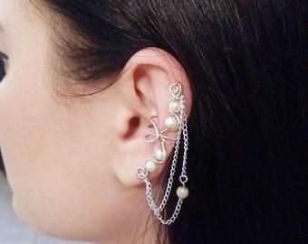 Silver Plated Ear Cuff Champagne moon beads Silver Ear Wrap