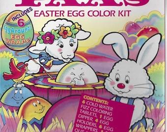 Vintage / PAAS (r) / Easter Egg Color Kit / Six Easter Egg Wrappers / Egg Wraps / Tablets / Egg Dipper / Punch-Out Animal Hunt Puzzle