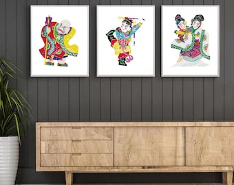 Chinese Paper Cutting Folk Characters set of 5,  Chinoiserie design inspiration, Fairy Tale, craft, card making, scrapbook, INSTANT DOWNLOAD